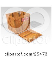 Clipart Illustration Of A Fragile Marked Heavy Duty Wooden Shipping Crate With The Lid On The Ground by KJ Pargeter