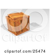 Heavy Duty Wooden Shipping Crate With The Lid Resting On Top