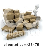 Clipart Illustration Of A White Character Wondering How He Is Going To Ship All Of His Cardboard Boxes