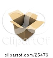 Clipart Illustration Of An Empty Open Cardboard Box