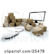 Clipart Illustration Of A Group Of Cardboard Boxes Surrounding A Computer Screen And Mouse by KJ Pargeter