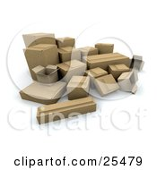 Clipart Illustration Of A Bunch Of Opened And Sealed Cardboard Boxes In A Corner