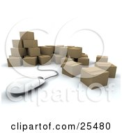 Clipart Illustration Of A Computer Mouse Emerging From A Bunch Of Sealed Cardboard Boxes Ready For Shipments
