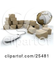 Globe And Computer Mouse With A Group Of Cardboard Shipping Boxes International Shipping