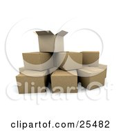 Clipart Illustration Of An Opened Cardboard Box On Top Of Stacked Shipping Boxes