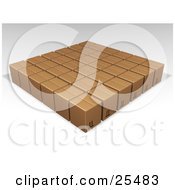 Clipart Illustration Of Rows Of Sealed Brown Cardboard Boxes Ready For Shipment