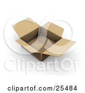 Clipart Illustration Of An Open And Empty Shallow Cardboard Shipping Box