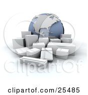 Group Of White Shipping Boxes In Front Of A Globe Featuring The Americas