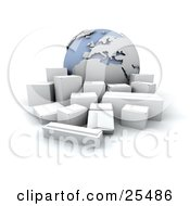 Clipart Illustration Of A Group Of White Shipping Boxes In Front Of A Globe Featuring Europe