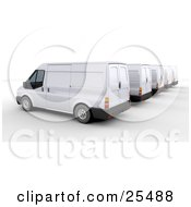 Clipart Illustration Of White Shipping Fleet Delivery Vans Parked by KJ Pargeter