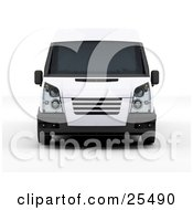 Clipart Illustration Of A Front View Of A White Delivery Van by KJ Pargeter