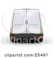 Rear View Of A White Delivery Van With Doors That Open