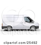 Clipart Illustration Of A White Delivery Van In Profile by KJ Pargeter