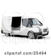White Delivery Van With A Sliding Door Open