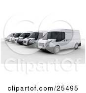 Line Of White Delivery Vans Parked In A Parking Lot