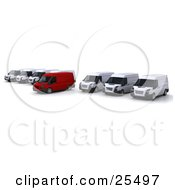 Clipart Illustration Of A Row Of White Delivery Vans With One Red One Pulled Out A Little