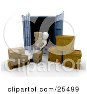 White Character Unloading Cardboard Boxes And Crates From A Cargo Container