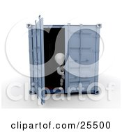 Clipart Illustration Of A White Character Opening The Doors Of A Blue Freight Container
