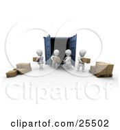 Clipart Illustration Of White Characters Unloading Cardboard Boxes From A Blue Freight Container And Stacking Them On A Pallet