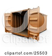 Clipart Illustration Of An Open Orange Freight Container