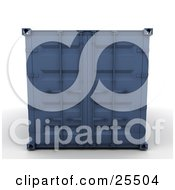 Clipart Illustration Of A Closed Blue Cargo Container