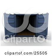 Clipart Illustration Of An Open Blue Cargo Container