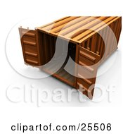 Clipart Illustration Of An Open Orange Shipping Container