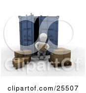 Clipart Illustration Of A White Character Unloading Cardboard Boxes From A Blue Freight Container And Stacking Them On A Pallet