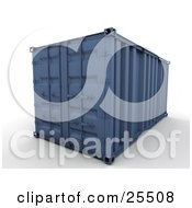 Clipart Illustration Of A Closed Blue Freight Container