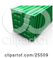 Clipart Illustration Of A Closed Green Freight Container