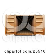 Clipart Illustration Of An Open Orange Cargo Container