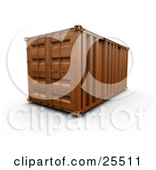 Clipart Illustration Of A Closed Orange Freight Container