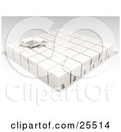 Clipart Illustration Of One Opened Box In Rows Of Sealed White Cardboard Boxes Ready For Shipment