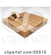 Clipart Illustration Of An Opened Box Sticking Out Of Rows Of Sealed Brown Cardboard Boxes Ready For Shipment