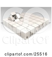 Clipart Illustration Of An Opened Box Sticking Out Of Rows Of Sealed White Cardboard Boxes Ready For Shipment