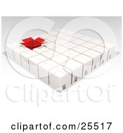 Clipart Illustration Of One Opened Red Box In Rows Of Sealed White Cardboard Boxes Ready For Shipment