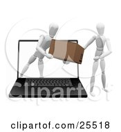 White Figure Character Emerging From A Laptop Computer Screen And Handing A Package To Another Person