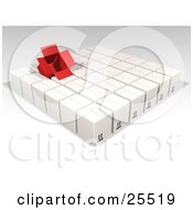 Clipart Illustration Of An Opened Red Box Sticking Out Of Rows Of Sealed White Cardboard Boxes Ready For Shipment