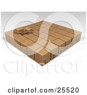 Clipart Illustration Of One Opened Box In Rows Of Sealed Brown Cardboard Boxes Ready For Shipment