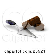 Clipart Illustration Of A Blue And Black Handled Trowel Tool Beside Two Bricks by KJ Pargeter