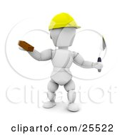 White Character Bricklayer Worker Wearing A Hard Hat Holding A Brick And Tool