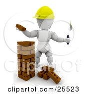 White Character Bricklaying Worker Wearing A Hard Hat Stacking Bricks