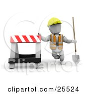 Clipart Illustration Of A White Character Construction Worker Wearing A Hard Hat And Vest Holding A Shovel And Leaning Against A Type II Barricade by KJ Pargeter
