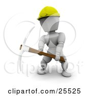 Clipart Illustration Of A White Character Construction Worker In A Yellow Hardhat Working With A Pickaxe