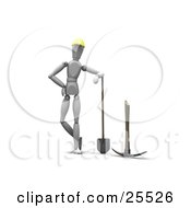 Clipart Illustration Of A White Figure Character In A Hardhat Leaning On A Shovel And Standing By A Pickaxe