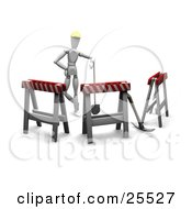 Clipart Illustration Of A White Figure Character In A Hardhat Leaning On A Shovel In A Circle Of Type II Barricades