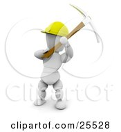 Clipart Illustration Of A White Character Construction Worker Wearing A Hard Hat And Working With A Pickaxe