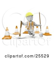 Clipart Illustration Of A White Character Construction Worker Wearing A Hard Hat And Vest Standing With A Pickaxe And Shovel In Front Of Construction Cones by KJ Pargeter
