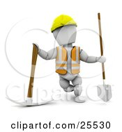 Clipart Illustration Of A White Character Construction Worker Wearing A Hard Hat And Vest Standing With A Pickaxe And Shovel