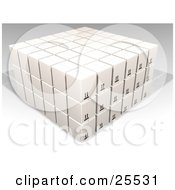 Clipart Illustration Of Stacked White Cardboard Boxes In A Warehouse